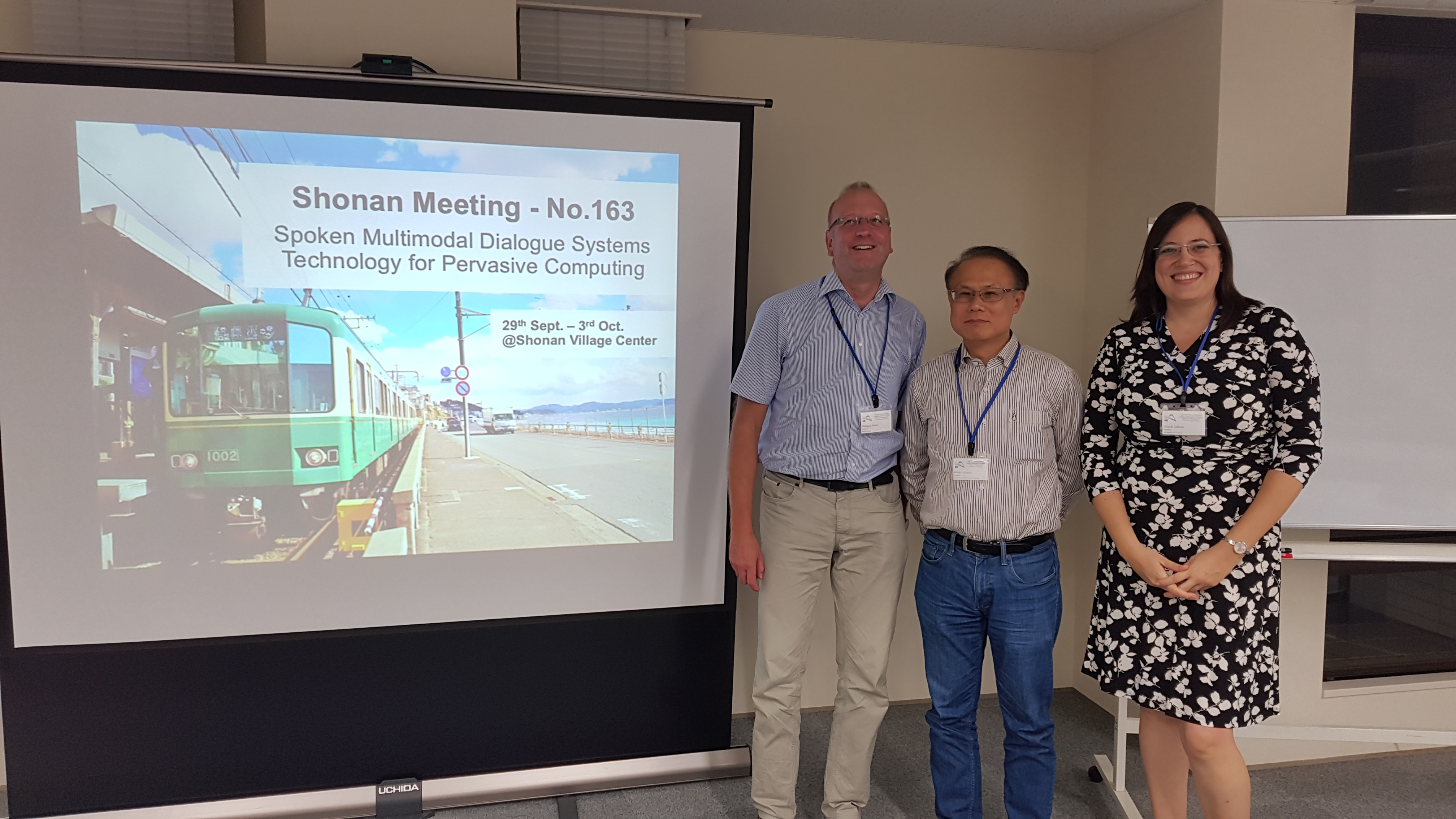 Wolfgang Minker (UULM), Keiichi Yasumoto (NAIST) and Zoraida Callejas (UGR) at the NII Shonan Meeting