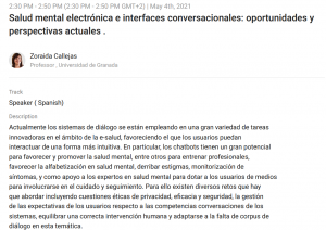 Zoraida Callejas at Iberoamerican Chatbot